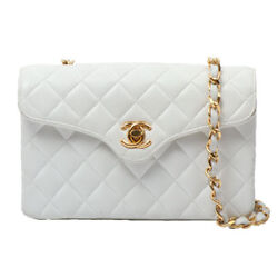Vintage CHANEL Design Flap Turn-lock Chain Bag White