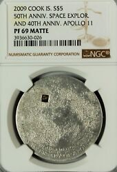 Cook Islands 2009 Moon Lunar Meteorite 40th And 50th Anniversary 5 - Ngc Pf69