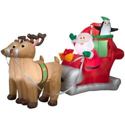 Airblown 5 Ft. H X 8 Ft. W Inflatable Santa With Sleigh And Reindeer Scene