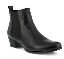 New In Box Womens Spring Step LITHIUM-B Black Leather Booties Boots $138.38