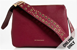Burberry Small Helmsley Crossbody Bag Leather Riveted Strap Crossbody House Chec
