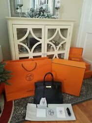 2013 HERMES 35cm BIRKIN BAG Black Clemence leatherGHW COMES WITH EVERYTHING!