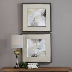 Pair Xxl 33 Color Abstract Prints Under Glass Faux Wood Grain Charcoal Frames