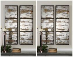 FOUR FARMHOUSE RESTORATION DECOR 42quot; ANTIQUED AGED MIRRORS WALL ART METAL FRAME