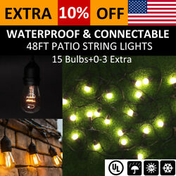 48ft Festoon String Lights w Bulb Christmas Party Home Cafe Patio Waterproof US