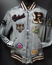 Men's Rebel Minds Jean Jacket with Patches - Light Blue