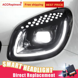 2Pcs For Smart ForTwo 16-17 Headlights assembly Bi-xenon Lens Projector LED DRL