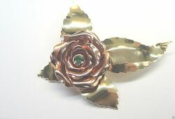 Antique Vintage Retro Colombian Emerald Rose Pin Brooch 14k Rose And Green Gold