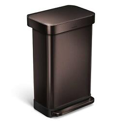 Dark Bronze 45 Liter  12 Gallon Stainless Steel Rectangular Kitchen Step Trash
