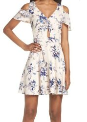 Nwt Ali And Jay Blue Floral Chasing Butterflies Cold Shoulder Womenand039s Dress Size L