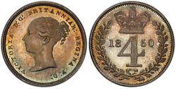 Britain Victoria 1850 Ar Maundy Set Pcgs Pl66-pl67 S-3916 Extremely Rare Quality