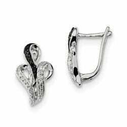 Sterling Silver Black And White Diamond Hinged Stud Earrings 15.5 X 11 Mm