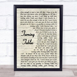 Turning Tables Song Lyric Vintage Script Quote Print
