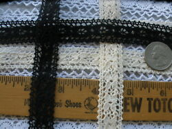 19MM Natural cotton cluny lace black ecru 5 or 10 yards picot edges crochet 3 4quot; $5.27