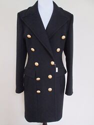 NWT Balmain Classic Black Double Breasted Gold Button Wool Coat 42 US 10 $4995