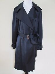 Nwt Lanvin Dark Navy Blue Satin Double Breasted Belt Trench Coat 44 Us 10 3995