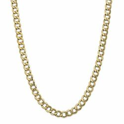 14k Yellow Gold 8 Mm Semi-solid Curb Link Chain Necklace 26 Msrp 4984