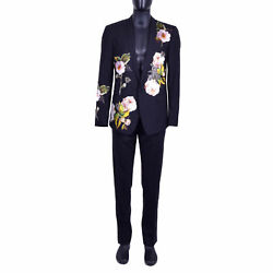 Dolce And Gabbana Gold Bee Floral Embroidery Suit Blazer Jacket Pants Black 07053
