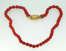 Vintage Retro 1940s Sardinian Red Coral Bead Diamond Necklace In 18k Yellow Gold