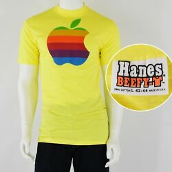 1980s Vintage Apple Rainbow T Shirt Super Soft Deadstock Mens L Hanes