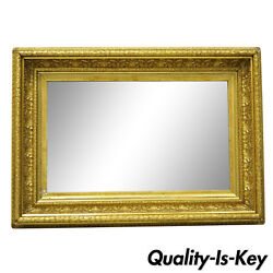 19th Century Gilt And Gesso Wood Frame Wall Mirror With Foliate Design B