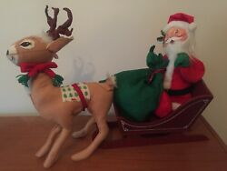 Annalee 18 Inch Santa In Sleigh With 18 Inch Reindeer And Green Burlap Sack
