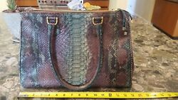 AUTHENTIC GHIBLI Italian DESIGNER PYTHON LEATHER HAND BAG LARGE TOTE Brand New