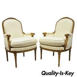 Pair French Louis Xvi Style Upholstered Bergere Arm Chairs Greenbaum Interiors