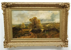 Antique English Landscape Painting James Peel Rba Signed Near Gearhart 1868
