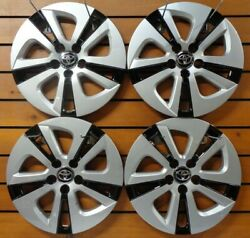 4 Silver Black 2016 2018 Toyota Prius 15quot; Wheel Covers Hub Caps Full Rim 61180