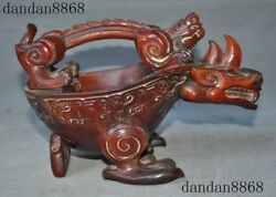 Chinese Ox Horn Hand Carved Cattle Dragon Bird Beast Statue Goblet Wineglass Cup