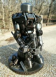 Metal Sculpture of ROBOT & HELPER as in {RISE OF THE MACHINES}