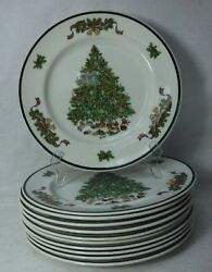 Johnson Brothers China Victorian Christmas Set Of 12 Dinner Plates - 10-1/4
