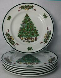 Johnson Brothers China Victorian Christmas Set Of 6 Dinner Plates - 10-1/4