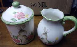 Maxcera Ceramic Easter Canister With Lid And Vase Set