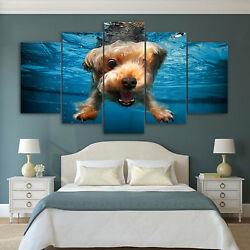 Terrier Underwater Canvas Set Dog Prints Wall Art Dog Lovers Gift
