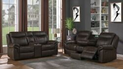 Cocoa Brown Faux Leather Reclining Sofa Gliding Love Seat Consoles Furniture Set