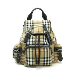 Auth BURBERRY Crossbody Rucksack in Vintage Check Antique yellow Nylon Leather