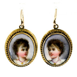 Antique 10k Yellow Gold Oval Hand-painted Portrait Cameo Drop Dangle Earrings