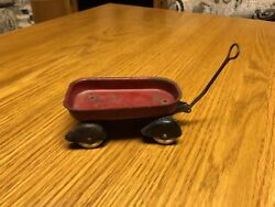 Antique Childs Toy 5 Metal Little Red Wagon Rare With Skirted Wheels