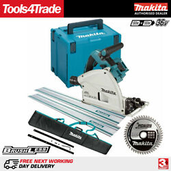 Makita Dsp600zj 36v Brushless Plunge Saw + 2 X 1.5m Guide Rail, Bag Blade And Case