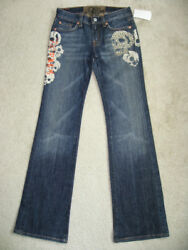 NEW 7 FOR ALL MANKIND Girls BOOTCUT Stretch Jeans Nakita Skull Crystal Size 12