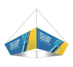 10'x3' Tapered Square Fabric Hanging Sign Trade Show Display Ceiling Banner Sign