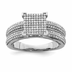 Sterling Silver 2 Mm Diamond Square Ring0.50 Ctw Msrp 1729
