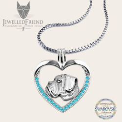 Boxer dog jewelry necklace pendant with swarovski crystal-Sterling Silver-Person