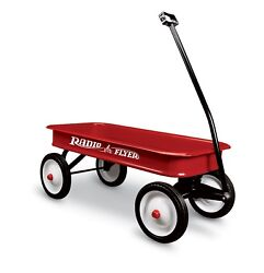 Classic Red Wagon Kids Classic Steel Vintage Pull Long Folding Handle Child Toy