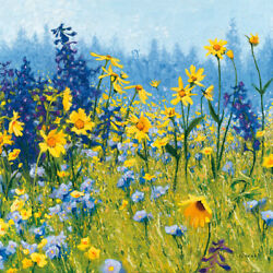 Joyful In July Iii By Shirley Novak Floral Art Print Or Stretched Canvas
