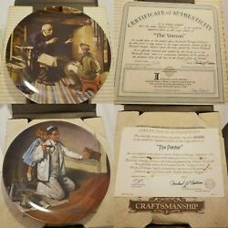 Lot Of 8 Norman Rockwell Heritage Antique Plates
