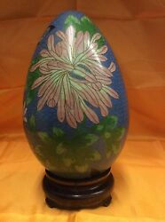 Vintage Chinese Cloisonne Enameled Brass Egg On The Stand