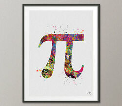Pi Symbol Art Watercolor Print Math Teacher Gift Math Art Nerd Student Dorm Art